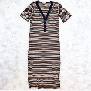 Zara striped ribbed midi dress